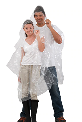 Disposable Ponchos with Hoodie, clear, (Material: 90% 0.015mm thick PE + 10% corn starch which provides a faster degrading process) - CHEAPEST IN AUSTRALIA